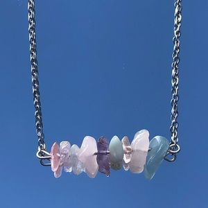 Silver Chain Crystal Necklace